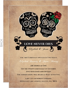 Day Of The Dead Skulls Halloween Wedding Invitation