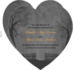 Haunted Heart Gray Halloween Wedding Invitation