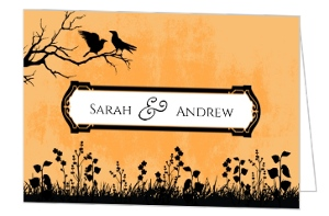 Orange And Black Silhouettes Halloween Wedding Invitation