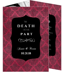 Gothic Red and Black Damask Halloween  Wedding Invitation