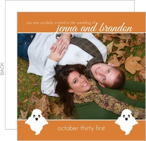 Orange Ghost Photo Halloween Wedding Invitation