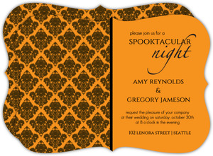 Orange Damask Halloween Wedding