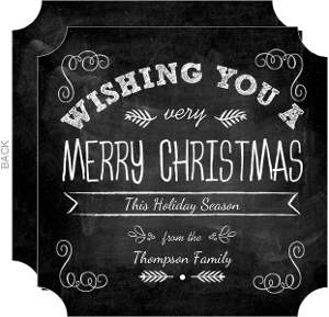 Curly Corners White Chalkboard Christmas Card