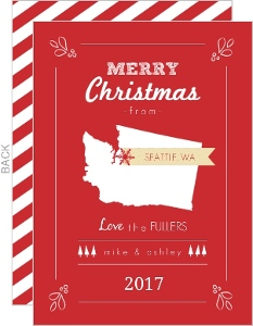 Personalized State Greeting Christmas Card