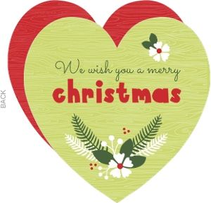 Green and Red Rustic  Heart Christmas Card