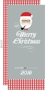 Red and Gray Hipster Santa Christmas Card
