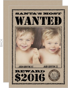Wanted Christmas Photo Card