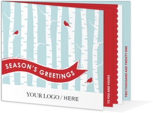 Red and Blue Birch Tree Business Holiday Card