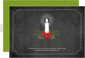 Candle And Poinsettia Holiday Card