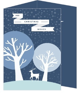 Blue Reindeer Christmas Card