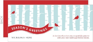 Soft Blue Birch Tree Business Holiday Greeting Card