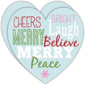 Colorful Heart Shaped Christmas Card