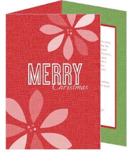 Red Retro Poinsettia Christmas Card