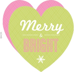 Pink and Green Modern Heart Christmas Card
