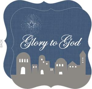 Blue and Gray Bethlehem Christmas Card