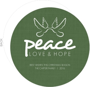 Peaceful Green Circle Christmas Card
