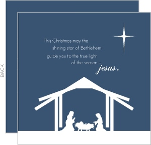 Blue Nativity Christmas Card