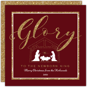 Faux Glitter Nativity Christmas Card