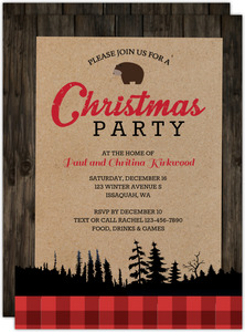 Rustic Plaid And Wood Holiday Party Invitation