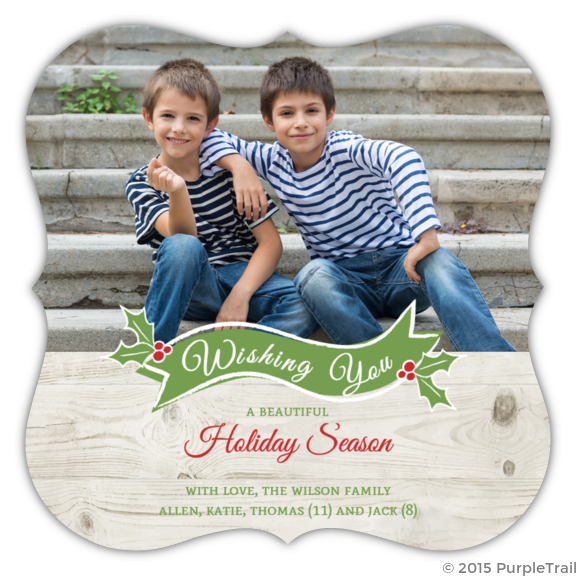 Rustic Holly Christmas Photo Card