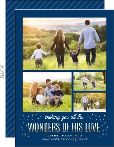 Faux Glitter Wonders Religious Christmas Photo Card