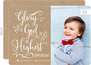 Modern Kraft Glory To God Christmas Photo Card