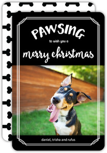 Black Paw And Bone Pet Christmas Photo Card