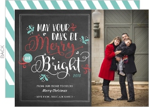 Vintage Chalkboard Merry And Bright Christmas Photo Card