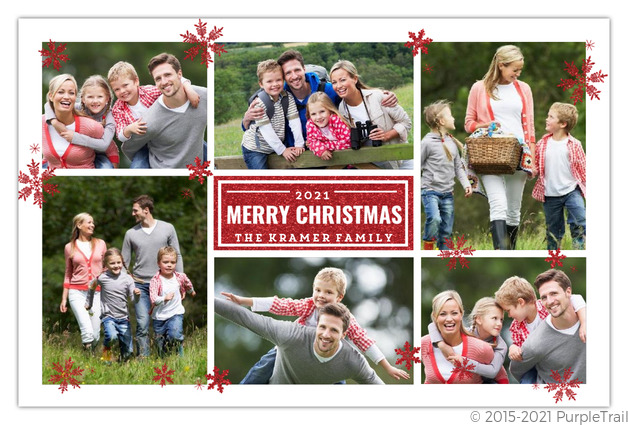 Red Faux Glitter Grid Christmas Photo Card