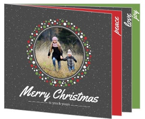 Red and Green Fesitve Wreath Christmas Photo Card