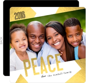Peace Geometric Faux Gold Foil Christmas Photo Card