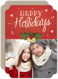 Beautiful Red Kraft Holiday Photo Card