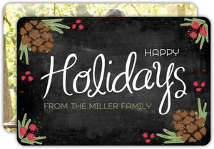 Chalkboard Pinecone Art Holiday Photo Card