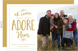 Gold Religious Adore Him Christmas Photo Card