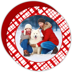 Beautiful Red Ornament Christmas Photo Card