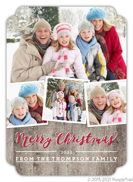 Rustic Woodgrain Red Christmas Photo Collage Card