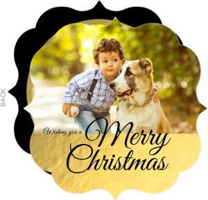 Faux Gold Foil Family Chritsmas Photo Card