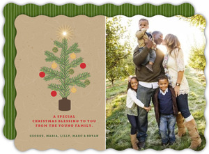 Green Tree Family Christmas Photo Card
