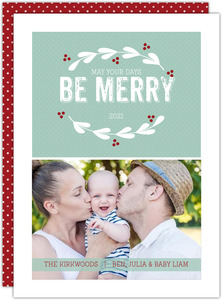 Red and White Wreath Holiday Photo Card