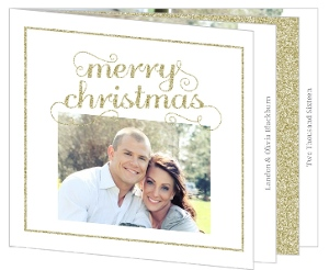 Gold Glitter Frame Christmas Photo Card