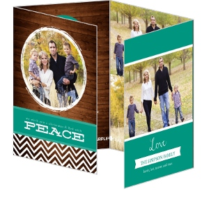 Bold Chevron Woodgrain Christmas Photo Card