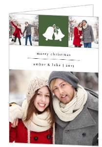Green Holly And Bells Christmas Photo Card