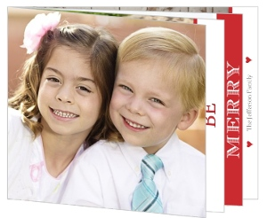 Simple Red Stripe Christmas Photo Card