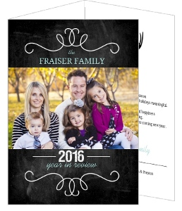 Chalkboard Year Infographic Christmas Photo Card