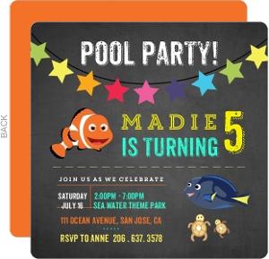 Cute Clown Fish Birthday Party Invitation