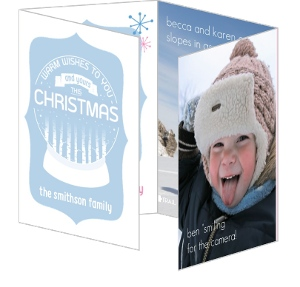 Blue and Pink Christmas Photo Card