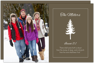 Modern Brown and White Tree Photo Christmas Card