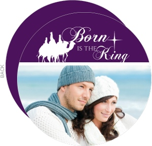Born Is The King Royal Purple Christmas Photo Card