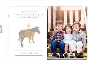 Star of Bethlehem and Donkey Photo Christmas Card