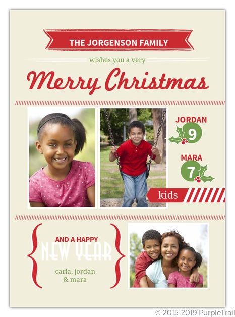 Modern Festive Banners Christmas Photo Card